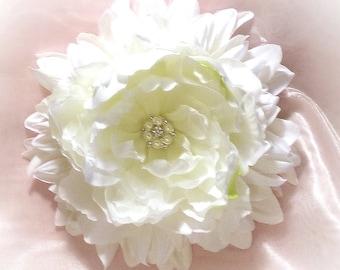 Bridal Vintage Inspired Shabby LARGE Flower Rhinestone Center Lush Silk Flower Pin for Weddings, Bridemaids, Hats, Coat Custom Colors too
