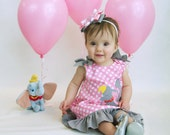 Flying Elephant Number Age Applique Monogram Pink Polka Dot Dress with Gray Ruffle - Dumbo Birthday Party - Dumbo dress