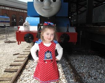 Red Polka Dot Thomas the Train applique dress - Train birthday party dress - vacation dress - school dress - baby girl dress