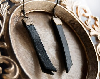 Absence of Light Leather Blade Earrings