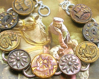 Antique BUTTON bracelet, Victorian CASTLE & Dragons, antique button jewellery.