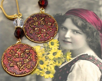 Ivy, Antique BUTTON earrings, Victorian vines in red on gold, Antique button jewellery.