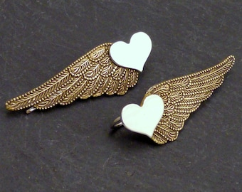 Sterling and Brass Heart Ear Sweeps  -  WINGED HEART SWEEPS - Mixed Metal Wing Ear Pin Earrings