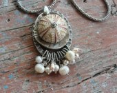 Sea Urchin Pearl Necklace Soft Pink Kinetic Pendant