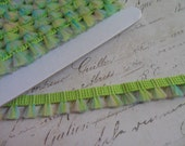 Lime Green and Teal Brush Fringe Trim with irrdescent sparkle, approx 1/2 inch wide