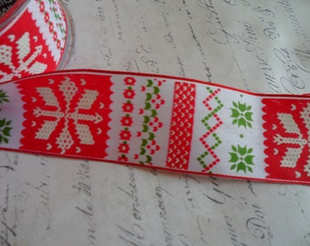 Nordic Christmas Ribbon with Light Wired edges, 1.5 inch wide
