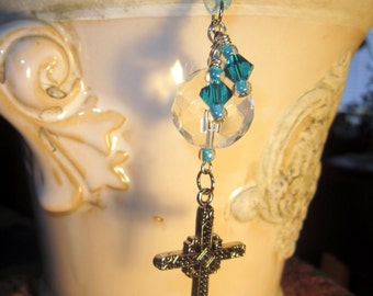 Rearview Mirror Jewelry Charm Car Feng Shui Christian Cross Turquoise Blue