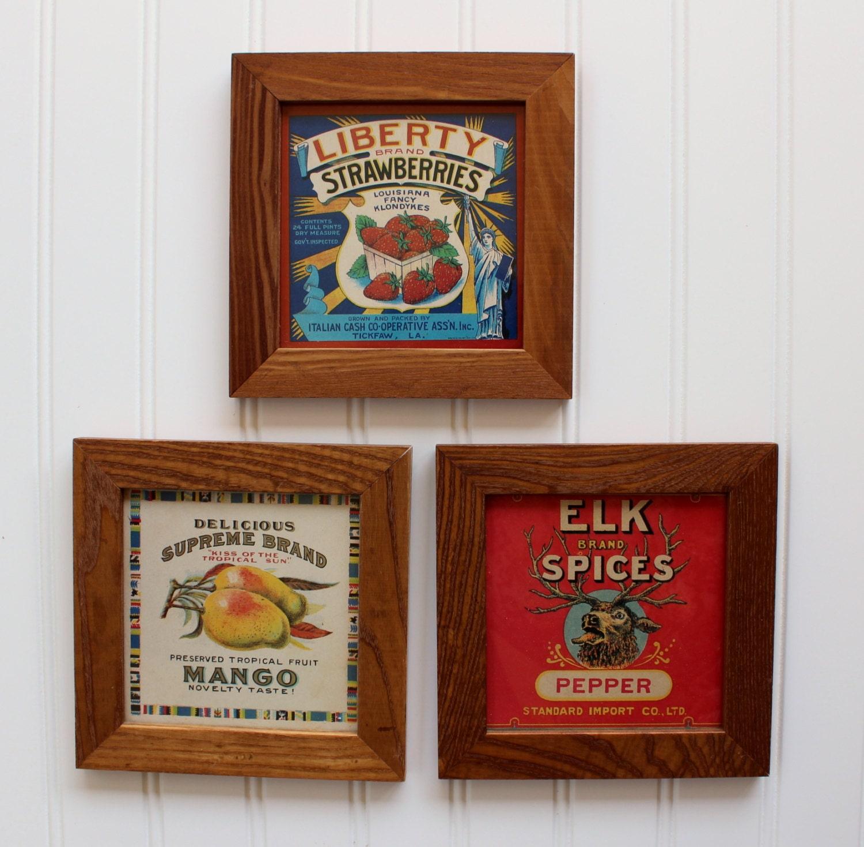 Vintage wall decor framed food labels strawberries mango for Plaque decorative cuisine