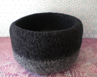 Black and Gray  Felted Whatnot/Ring Bowl
