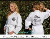 Bride Robe Personalized on Front and Back - Mrs. Last Name Back Embroidered Robe, Monogrammed Wedding Day Makeup Bride Robe