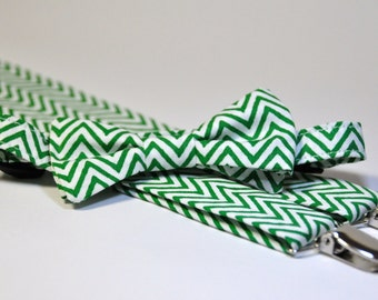 Boy's Christmas Bow Tie and Suspenders Green and White Chevron