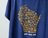 ON SALE! WI Drink Local Beer T-Shirt in Navy (Unisex)
