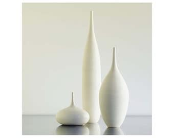 3 Large White Modern Ceramic Bottle Vases in Modern White home decor by Sara Paloma. mid century modern vase ceramics pottery white decor