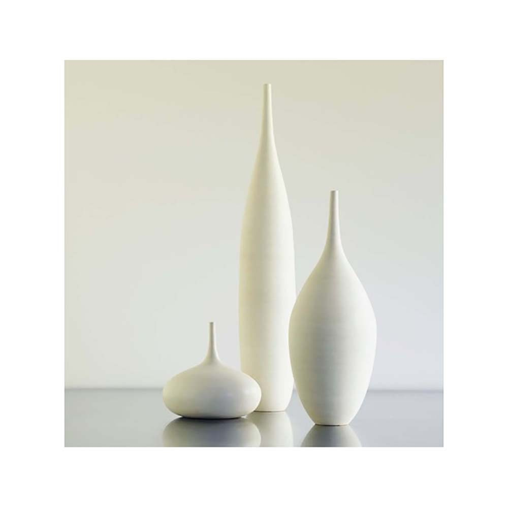 3 Large White Modern Ceramic Bottle Vases In Modern White