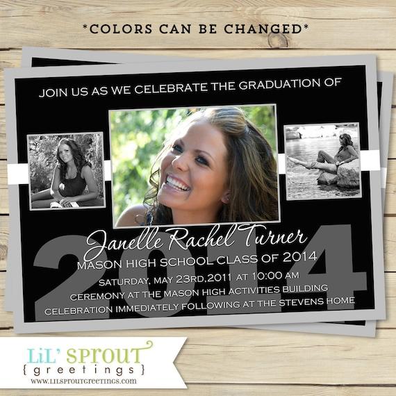 Photo Graduation Announcement- Photo Graduation Invitation - Printable Graduation Announcement - High School - College- Custom Colors