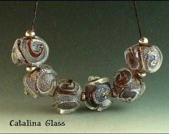 SRA Lampwork Glass Beads handmade by Catalina Glass 6 Frosted Scrolling Rounds