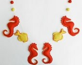 Baby Shower Gifts - 4 Seahorses and 2 fish - Handmade Soft Felt Under the Sea Banner - Crib Toys