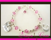 Design your own Big Sister Swarovski crystal bracelet with Initial Charm - choose your colors!