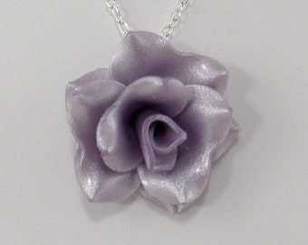 Pastel Purple Rose Pendant - Clay Rose Necklace - Pastel Purple Rose Necklace - Wedding Jewelry - Polymer Clay Rose - Ready to Ship #345