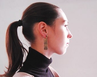 Brass earrings - brass, silver