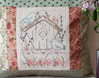 Bluebird Birdhouse Hand Embroidery Pattern PDF Instant Download