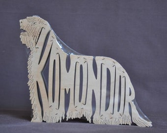 Komondor Mop  Dog Puzzle Wooden Toy Hand Cut with Scroll Saw