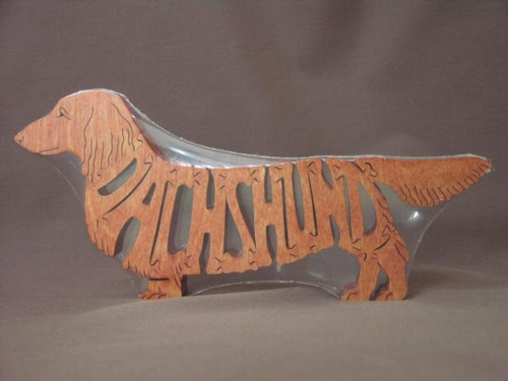 Long Haired Dachshund  Dog Puzzle Wooden Toy Hand Cut with Scroll Saw
