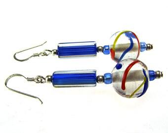 Silver Earrings Glass Bead Dangles