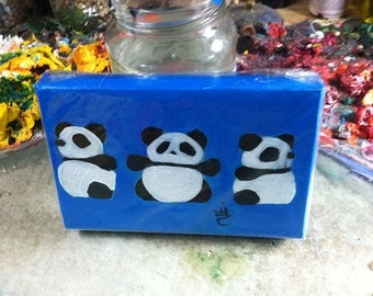 3 Sides of a Panda. Panda Art. 4X6 Inch  Original Canvas Painting. Sapphire Blue. Handmade Canvas painting for Baby. Baby Shower Gift.