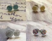 Four Pairs of Tiny Plastic Glitter Dots Post Earrings