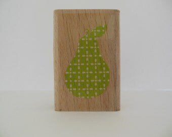 Pear Rubber Stamp - Wood Mounted Rubber Stamp - Summer Fruit Stamp