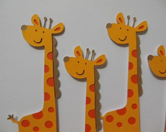 Giraffe Cupcake Toppers - Zoo Animal Decorations - Gender Neutral - Birthday Decorations - Baby Showers - Set of 6