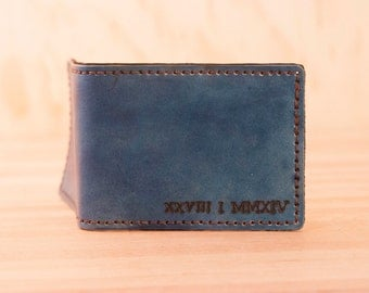 Numbers Bifold Wallet - Leather in Blue