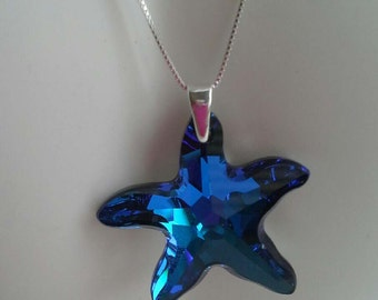 Handmade with Bermuda Blue Starfish Swarovski Pendant Necklace Sterling Silver 925