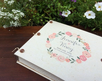 Boho Wedding Guest Book or Photo Album - Vintage Floral Wreath - Blush Rose Gold Pale Peach - Custom Made for You