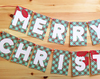 LOVE SALE Merry Christmas Plaid Red and Green Holiday Garland, Beautiful holiday decor, Merry Christmas garland, xmas banner, fireplace deco