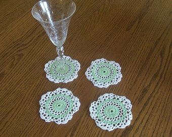 Crocheted White and Mint Green Coaster Set