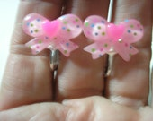 """Play Earring - Clip - Bow with Heart -  Light Pink - 3/4"""""""