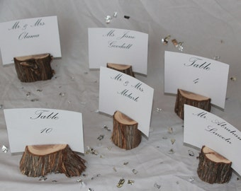 Wood Place Card Holders Table Number Set Of 15 Rustic Wedding