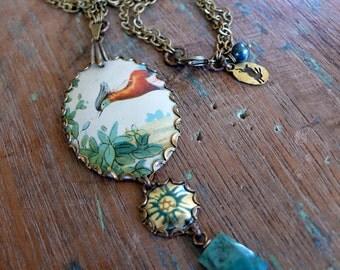 autumn bird - vintage tin, brass and semi-precious stones long necklace