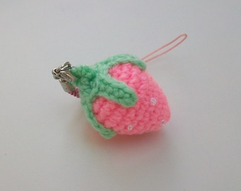 Amigurumi Strawberry Cell phone charm.