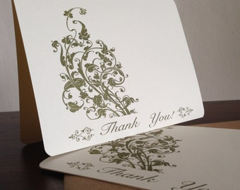 Filigree Thank You Cards, Screen Printed 24-Pack Greeting Cards