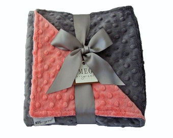 Coral & Charcoal Grey Minky Dot Baby Girl Blanket, 378