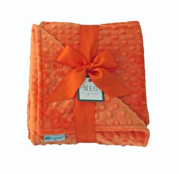 s a l e - Orange Minky Dot Baby Blanket { boys, girls, gender neutral } On Sale Now 387