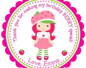 Strawberry Shortcake Personalized Stickers, Address Labels, Gift Tags, Hang Tags, Party Favors, Children, Seals- Set of 12