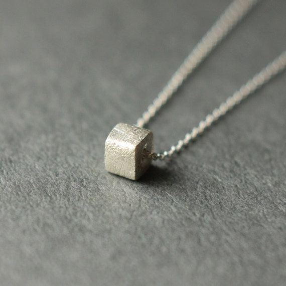 Silver Square Necklace, Minimal Jewelry, Sterling Silver Bead Necklace, Geometric Necklace, Modern Classic