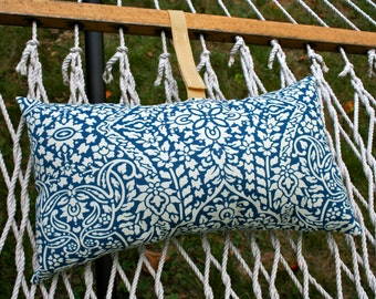 Blue and White Hammock Pillow with Adjustable strap