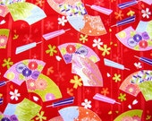 Beautiful Japanese Fabric Hand Fans Flowers RED (F15) Cherry Blossoms Chrysanthemums Half  Yard 110x50 cm