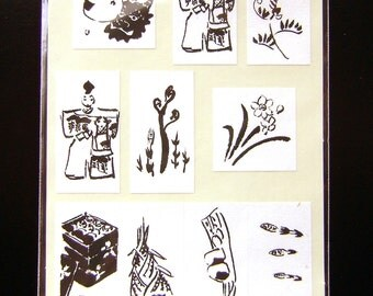 Traditional Japanese Spring Stickers Black And White Traditional Spring Food Festivals S180