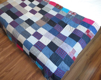 Vintage Patchwork Quilt - Vintage Blanket - Foot Warmer - Throw - Vintage Suit Material